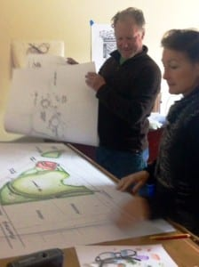 Sue and Jim review design for LindenPark
