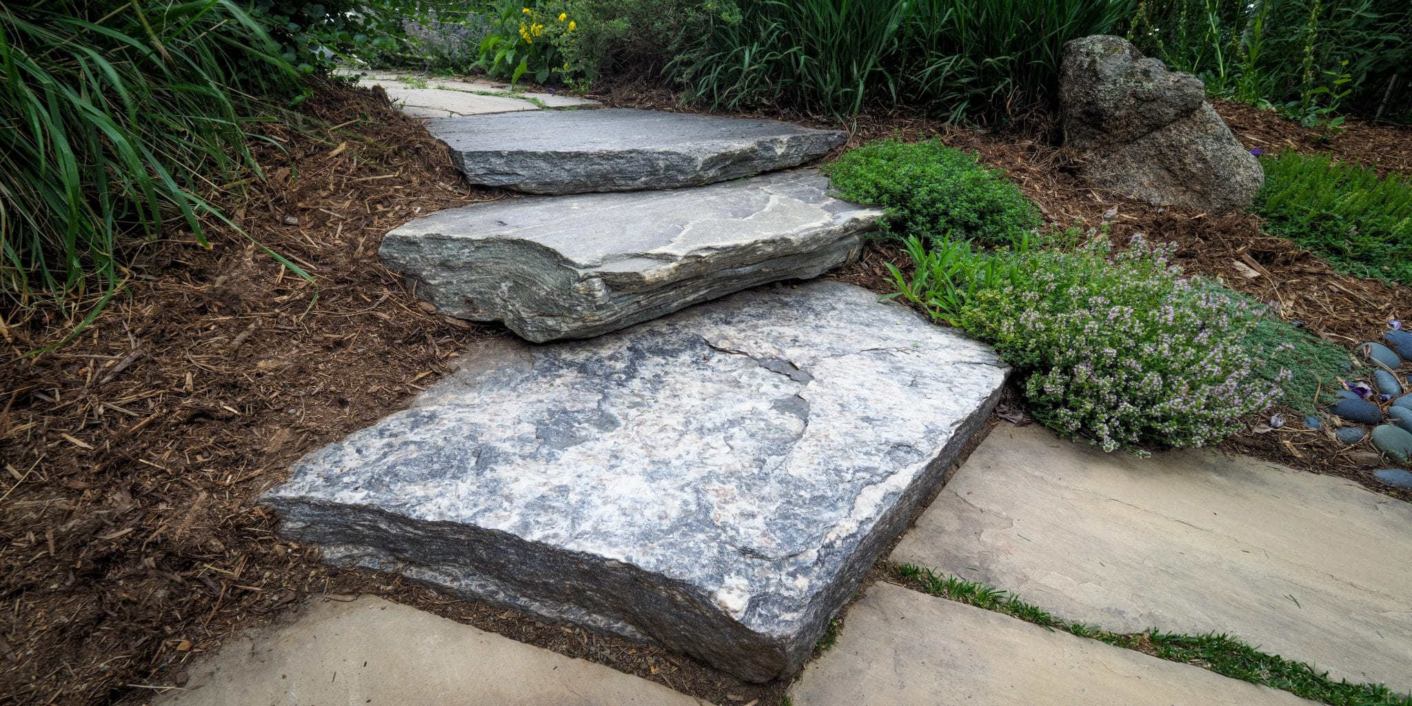 black granite slab steps patio