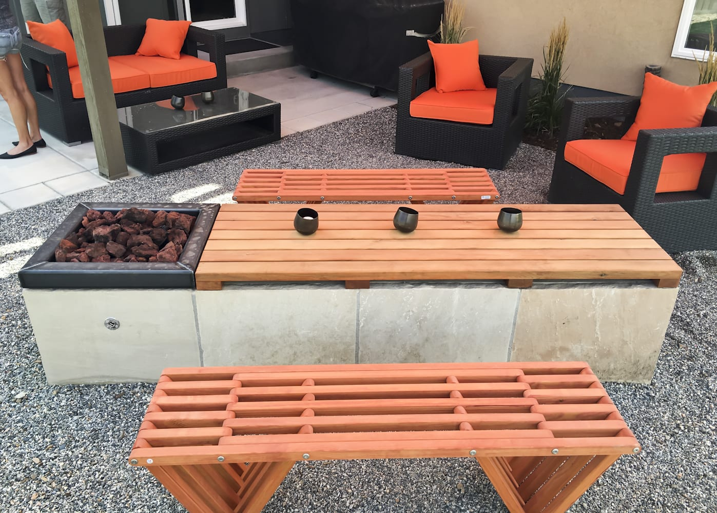 modern gas fire pit table