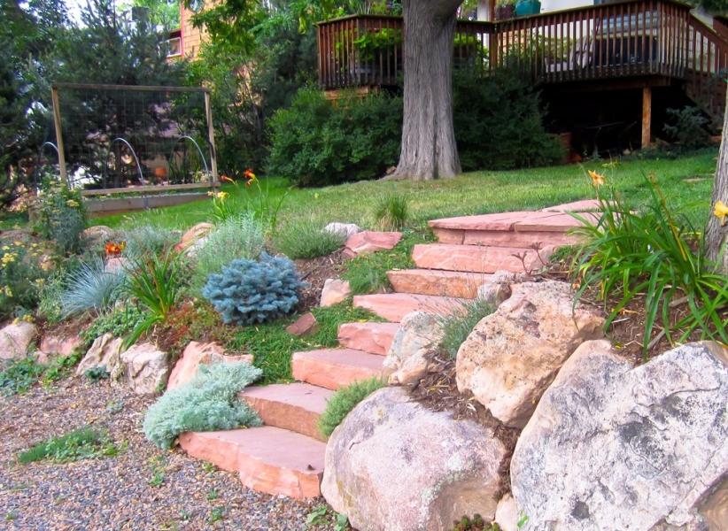 slab stone walkway steps perennial garden