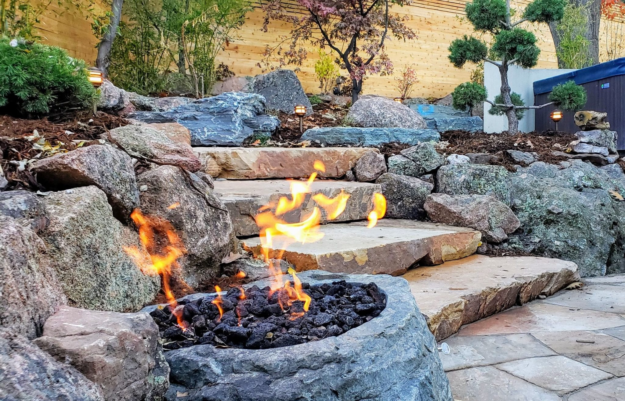 Fire pit bowl black granite zen garden