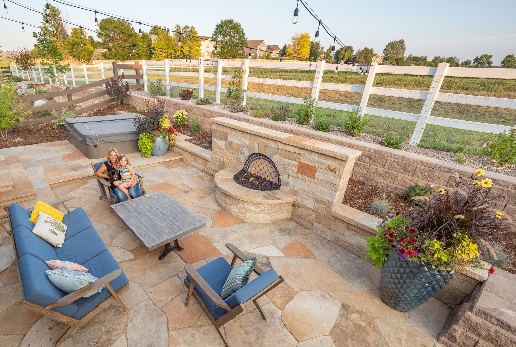outdoor living space with fireplace feature