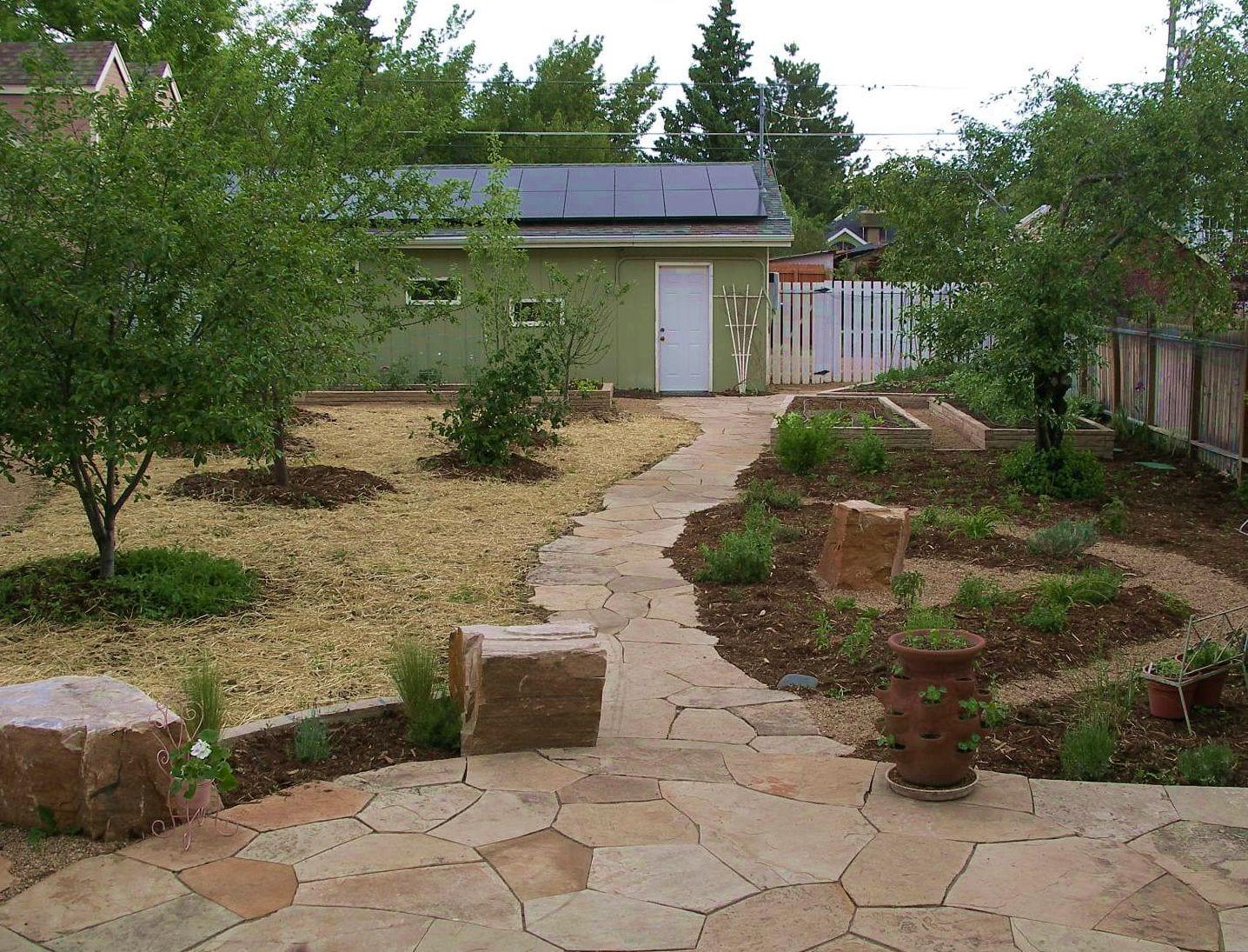fruit orchard raised veggie beds patio