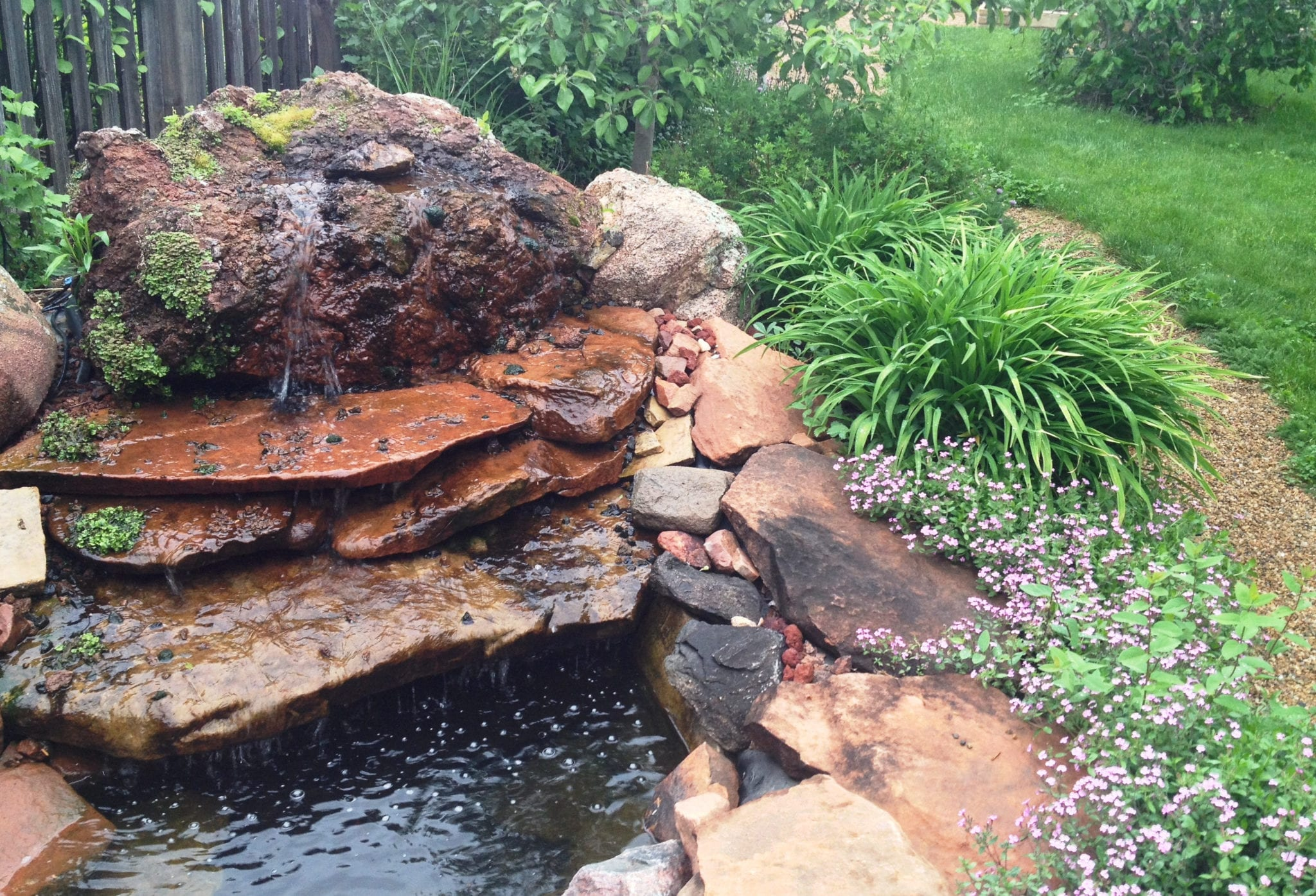Linville-water feature with blooms