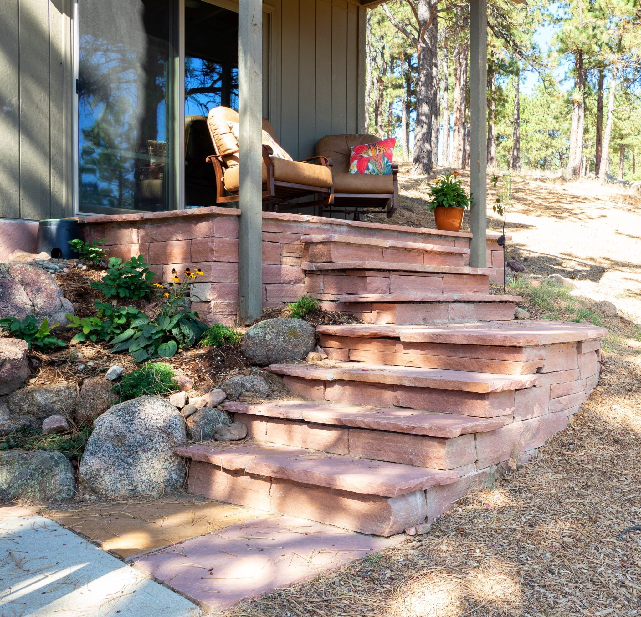 redstone outdoor stairs mountain landscape