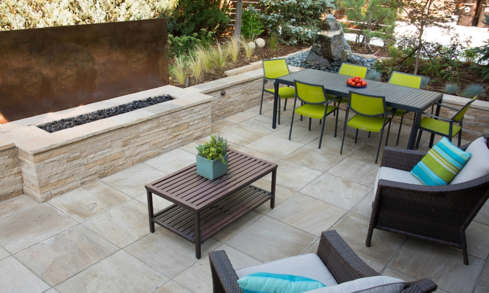 Natural stone patio with fire pit