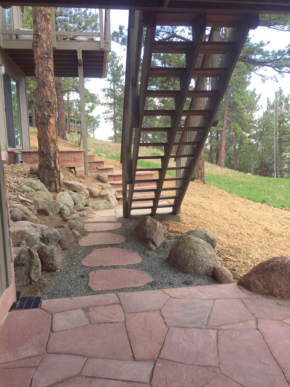 mountain patio stairway mulch