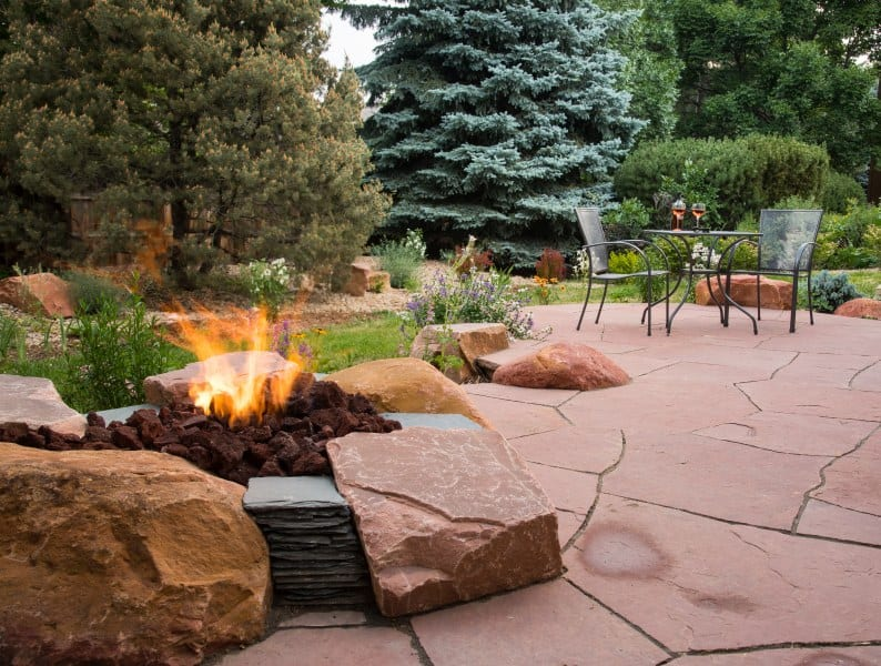 redstone patio with fire pit