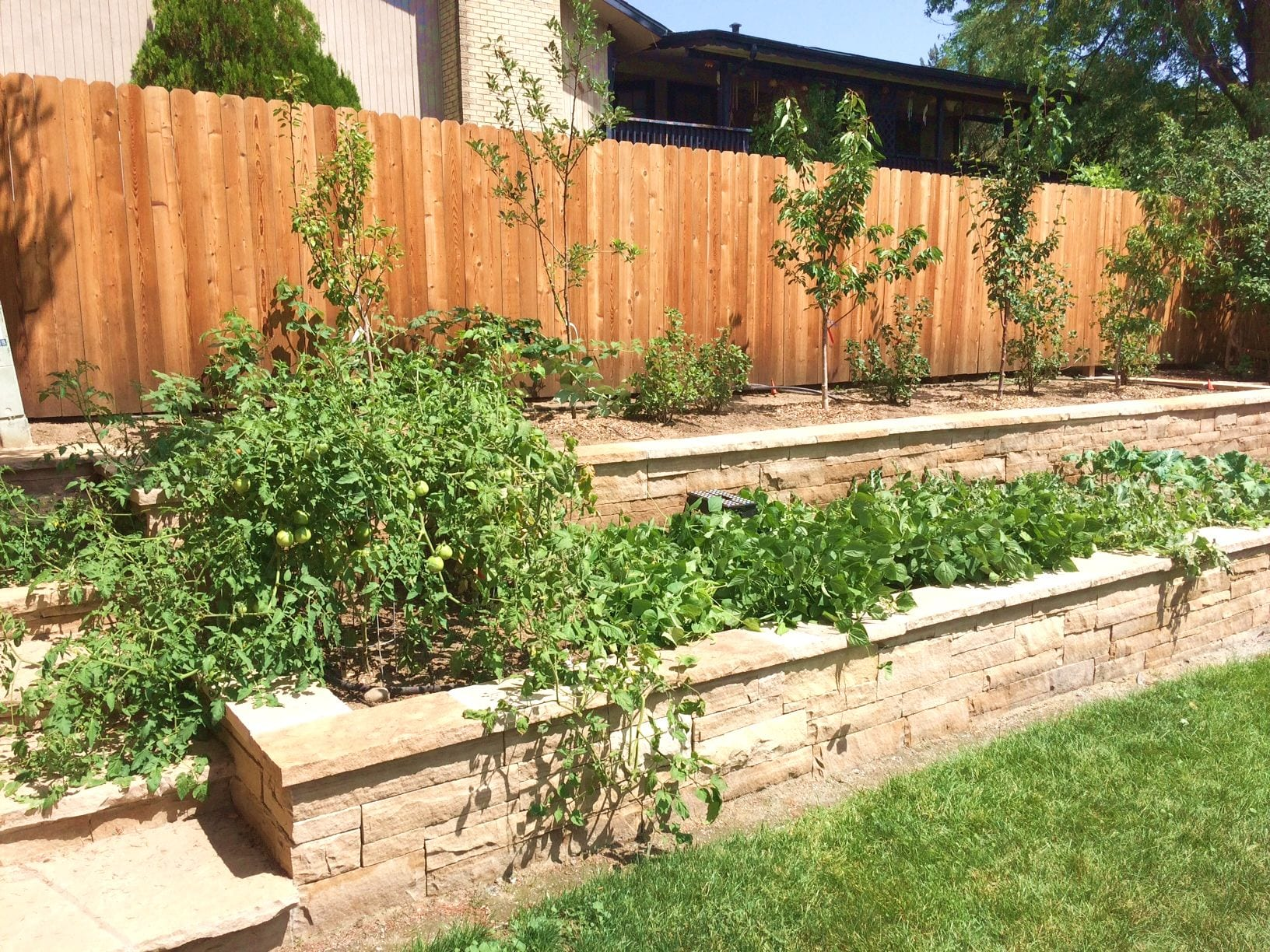 buff sandstone tiered raised veggie bed