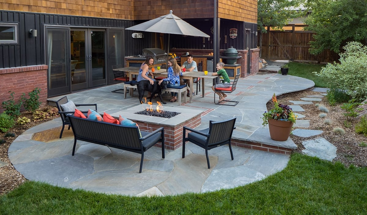 fire pit outdoor lighting flagstone patio